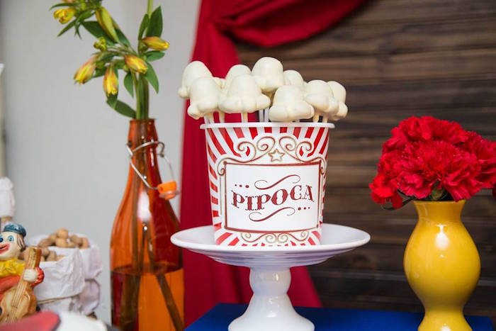 Popcorn Cake Pops from a Circus Carnival Baby Shower via Kara's Party Ideas KarasPartyIdeas.com (5)