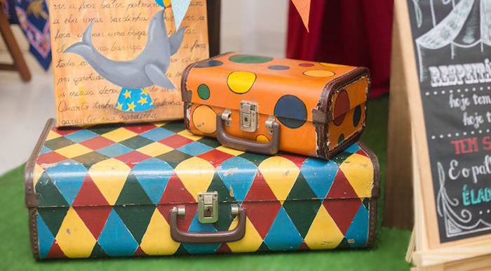 Suitcases from a Circus Carnival Baby Shower via Kara's Party Ideas KarasPartyIdeas.com (2)