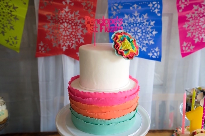 Cake from a Colorful First Birthday Fiesta via Kara's Party Ideas KarasPartyIdeas.com (10)