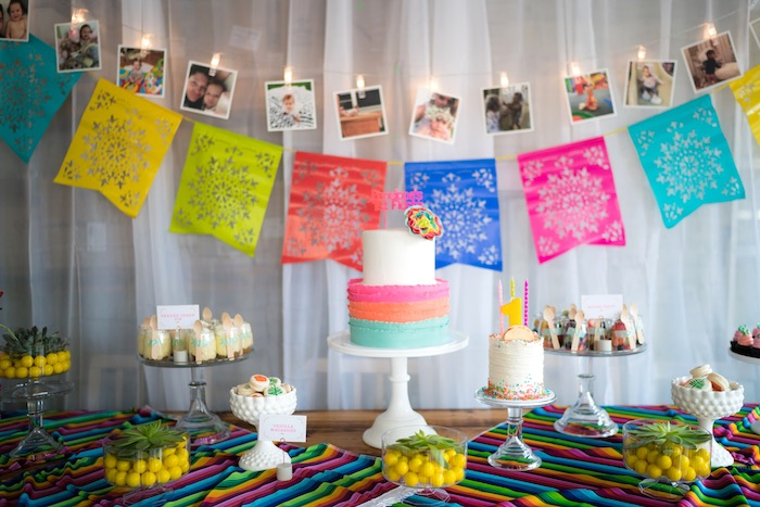Sweet Table from a Colorful First Birthday Fiesta via Kara's Party Ideas KarasPartyIdeas.com (16)