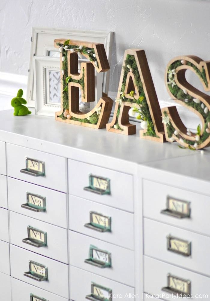 DIY moss wooden Easter letters for your home via Kara's Party Ideas | Kara Allen | KarasPartyIdeas.com #michaelsmakers 14