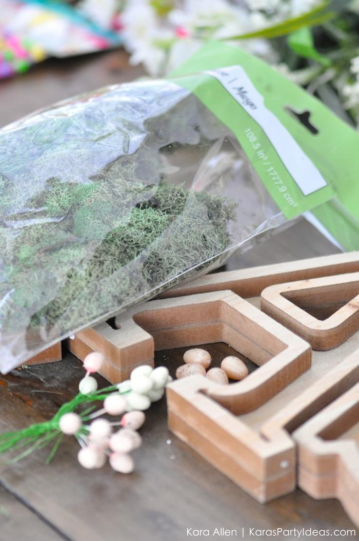 DIY moss wooden Easter letters for your home via Kara's Party Ideas | Kara Allen | KarasPartyIdeas.com #michaelsmakers 2