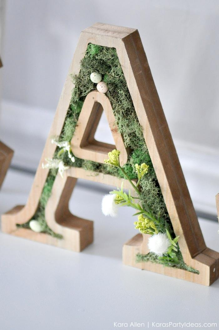 DIY moss wooden Easter letters for your home via Kara's Party Ideas | Kara Allen | KarasPartyIdeas.com #michaelsmakers 4