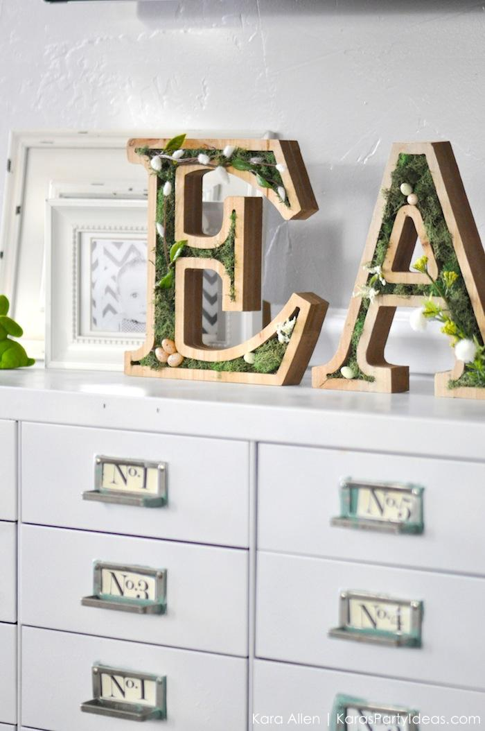 DIY moss wooden Easter letters for your home via Kara's Party Ideas | Kara Allen | KarasPartyIdeas.com #michaelsmakers 5