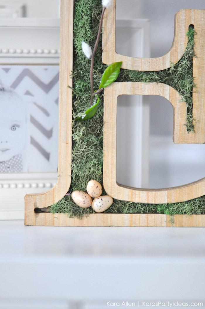 DIY moss wooden Easter letters for your home via Kara's Party Ideas | Kara Allen | KarasPartyIdeas.com #michaelsmakers 9