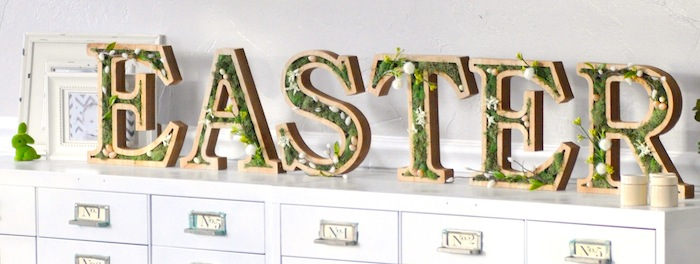 DIY moss wooden Easter letters for your home via Kara's Party Ideas | Kara Allen | KarasPartyIdeas.com #michaelsmakers
