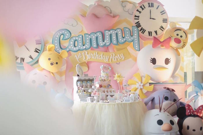 Party Display from a Disney's Tsum Tsum Inspired Birthday Party via Kara's Party Ideas | KarasPartyIdeas.com | The Place for All Things Party! (12)