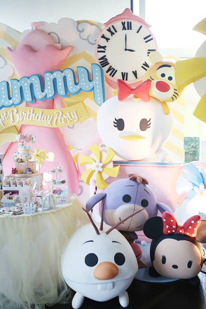 Backdrop from a Disney's Tsum Tsum Inspired Birthday Party via Kara's Party Ideas | KarasPartyIdeas.com | The Place for All Things Party! (8)