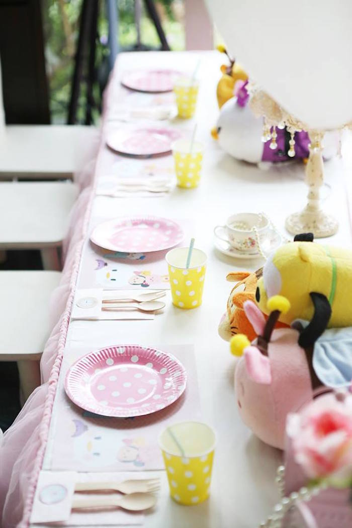 Dining Tablescape from a Disney's Tsum Tsum Inspired Birthday Party via Kara's Party Ideas | KarasPartyIdeas.com | The Place for All Things Party! (6)