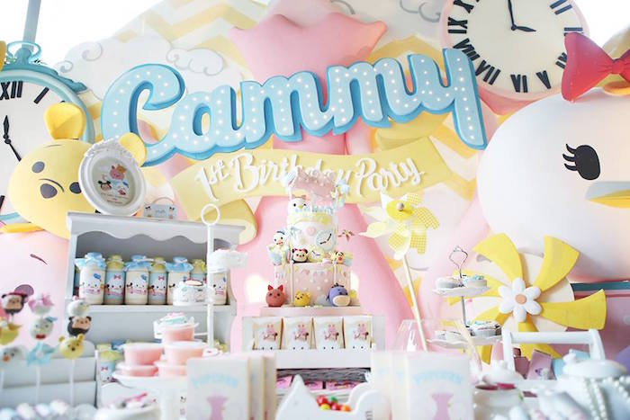 Cake Table + Backdrop from a Disney's Tsum Tsum Inspired Birthday Party via Kara's Party Ideas | KarasPartyIdeas.com | The Place for All Things Party! (19)
