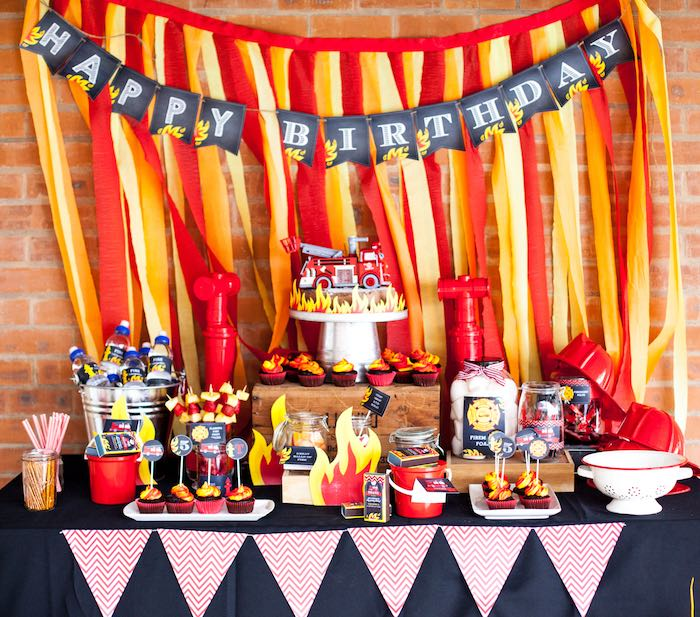 Dessert Table from a Fireman Birthday Party via Kara's Party Ideas | KarasPartyIdeas.com (16)