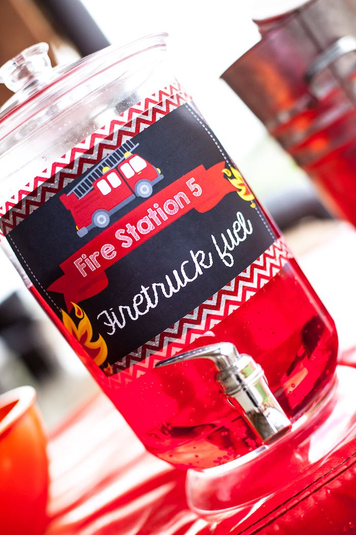 Drink + Firetruck Fuel from a Fireman Birthday Party via Kara's Party Ideas | KarasPartyIdeas.com (7)