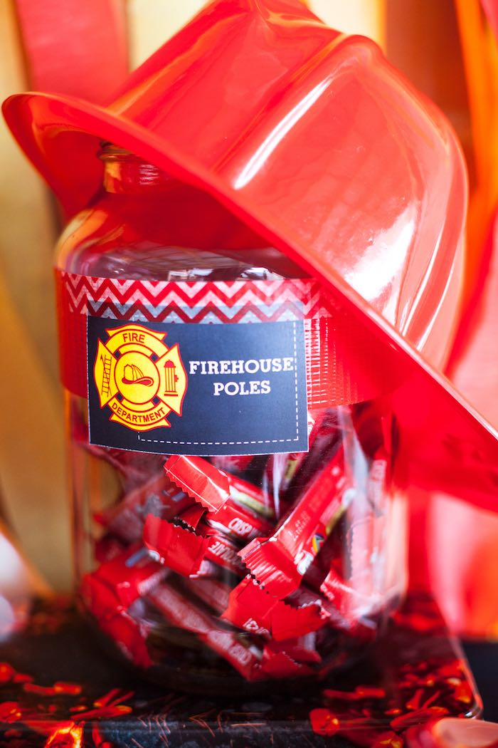 Firehouse Poles + Candy from a Fireman Birthday Party via Kara's Party Ideas | KarasPartyIdeas.com (5)