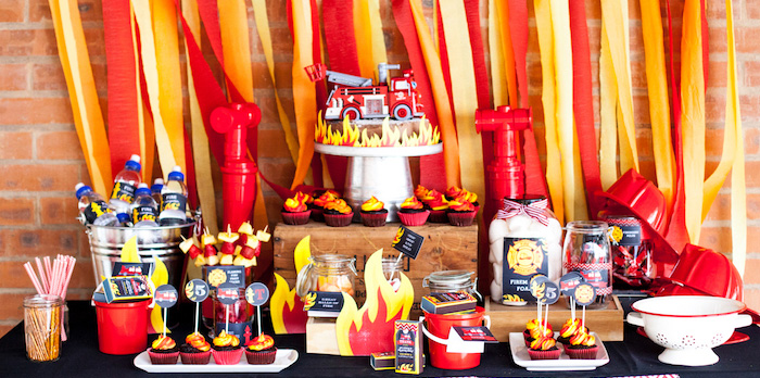 Dessert Table from a Fireman Birthday Party via Kara's Party Ideas | KarasPartyIdeas.com (1)