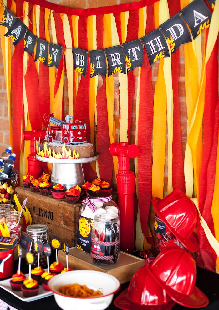 Side-view of a Sweet Table from a Fireman Birthday Party via Kara's Party Ideas | KarasPartyIdeas.com (14)