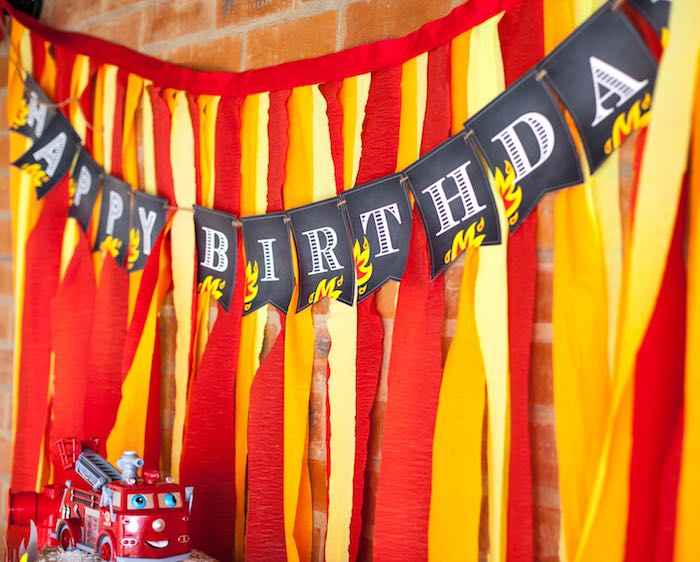 Dessert Table Backdrop from a Fireman Birthday Party via Kara's Party Ideas | KarasPartyIdeas.com (13)