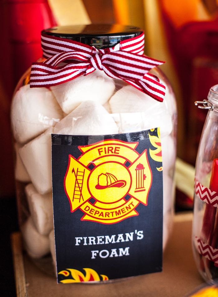Marshmallows + Fireman's Foam from a Fireman Birthday Party via Kara's Party Ideas | KarasPartyIdeas.com (12)