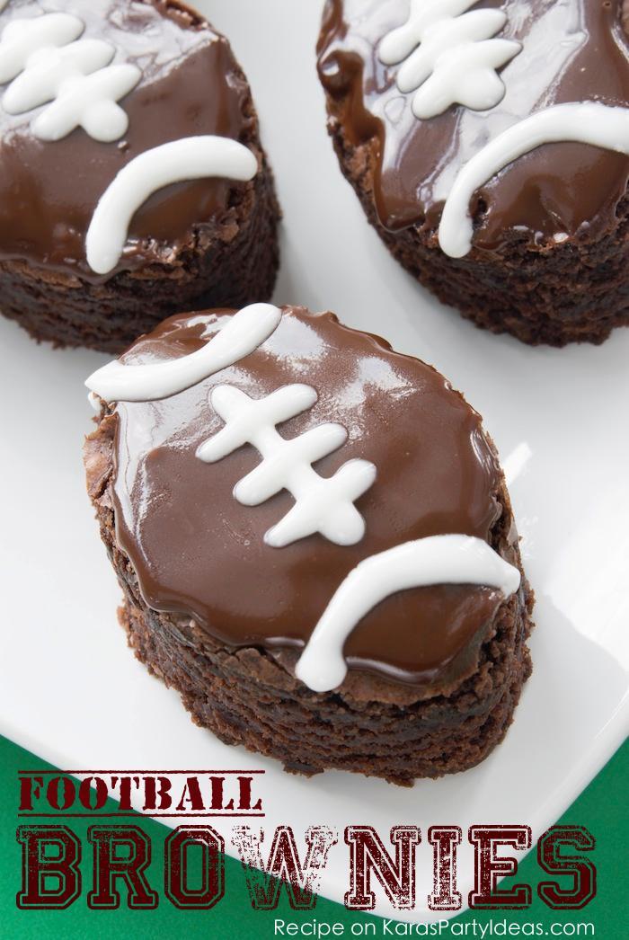 Football brownies recipe via Kara's Party Ideas! Great for your big football game party! Kara Allen | KarasPartyIdeas.com