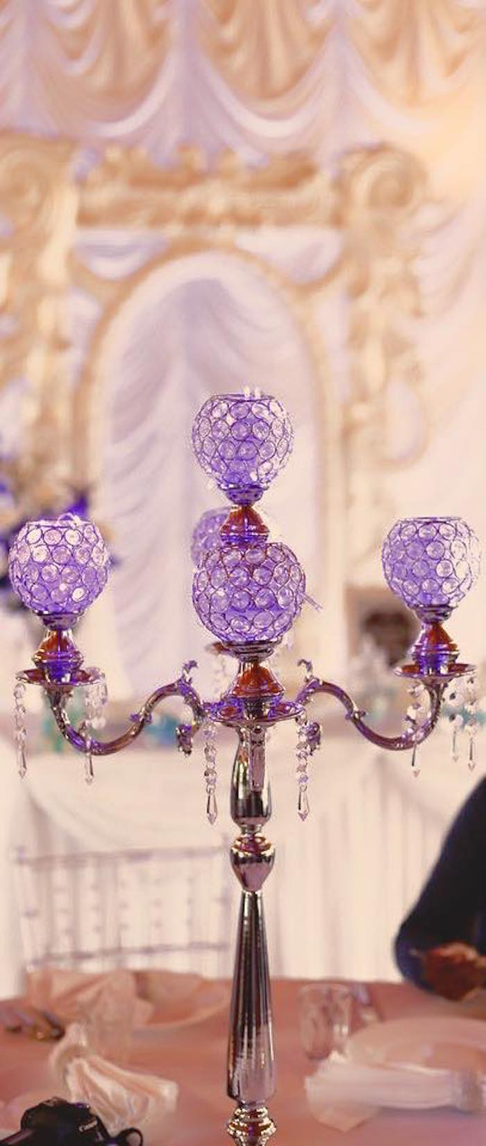 Chandelier Table Lamp from a Frozen Inspired Birthday Party via Kara's Party Ideas | KarasPartyIdeas.com | The Place for All Things Party! (8)
