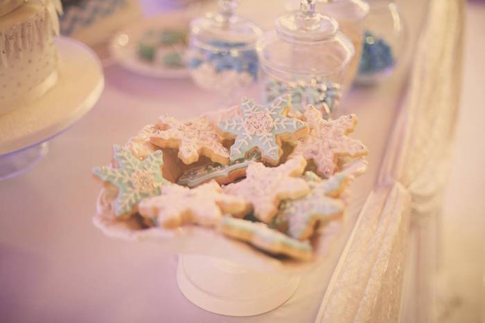 Snowflake Cookies from a Frozen Inspired Birthday Party via Kara's Party Ideas | KarasPartyIdeas.com | The Place for All Things Party! (19)