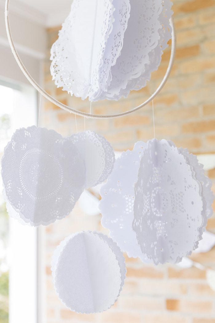 Hanging Doily Decoration from a Fruit Stand Birthday Party via Kara's Party Ideas | KarasPartyIdeas.com (9)