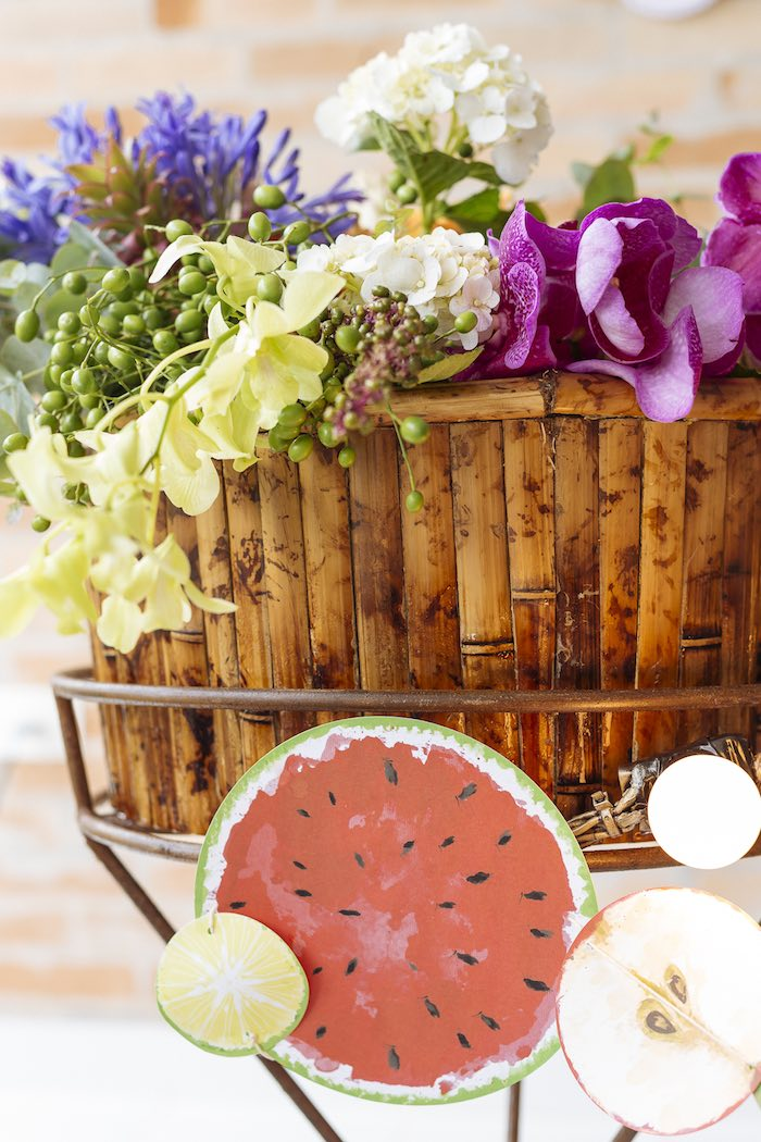 Floral Arrangement from a Fruit Stand Birthday Party via Kara's Party Ideas | KarasPartyIdeas.com (21)