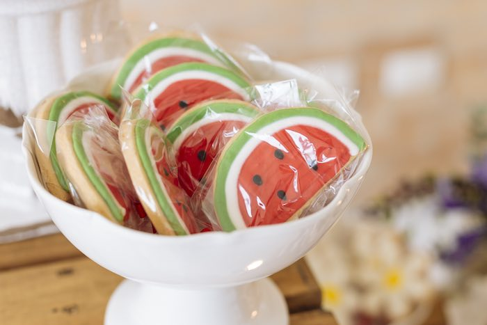 Watermelon Cookies from a Fruit Stand Birthday Party via Kara's Party Ideas | KarasPartyIdeas.com (18)