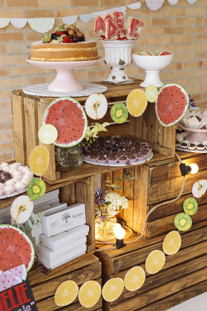 Cake + Sweets + Decor from a Fruit Stand Birthday Party via Kara's Party Ideas | KarasPartyIdeas.com (15)