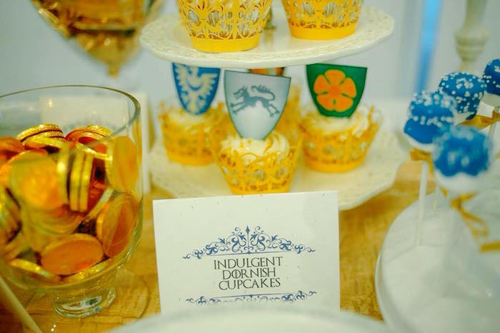 Cupcakes + Marshmallow Pops + Gold Chocolate Coins from a Game of Thrones Birthday Party via Kara's Party Ideas | KarasPartyIdeas.com (15)