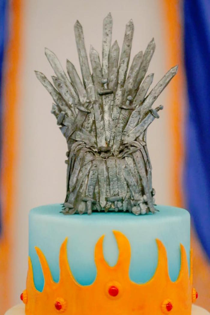 Iron Throne of Swords Cake Topper from a Game of Thrones Birthday Party via Kara's Party Ideas | KarasPartyIdeas.com (14)