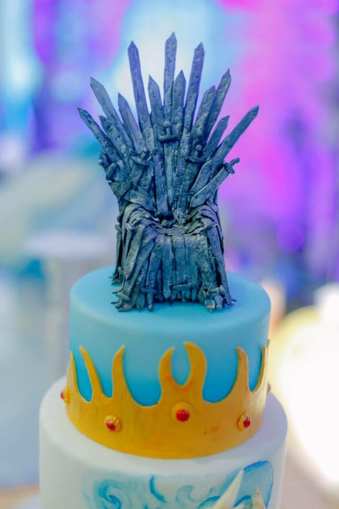Cake Topper + Iron Throne of Swords from a Game of Thrones Birthday Party via Kara's Party Ideas | KarasPartyIdeas.com (13)
