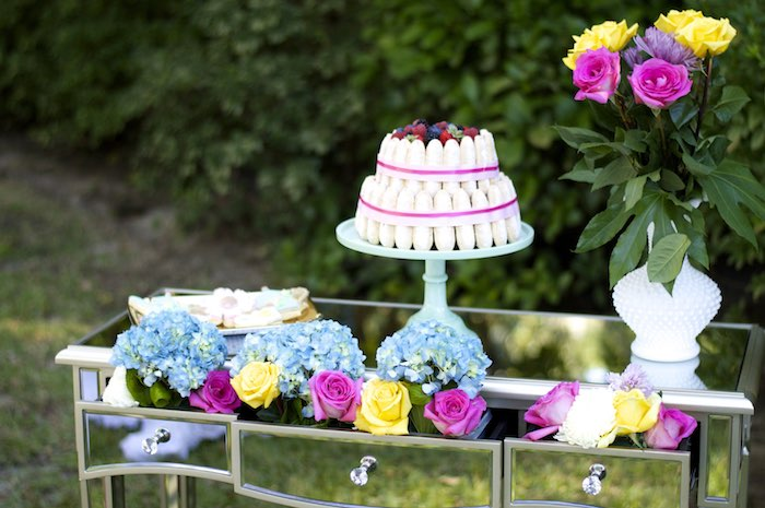 Mirrored Vanity Cake Table from a Garden Party Baby Shower via Kara's Party Ideas KarasPartyIdeas.com (28)