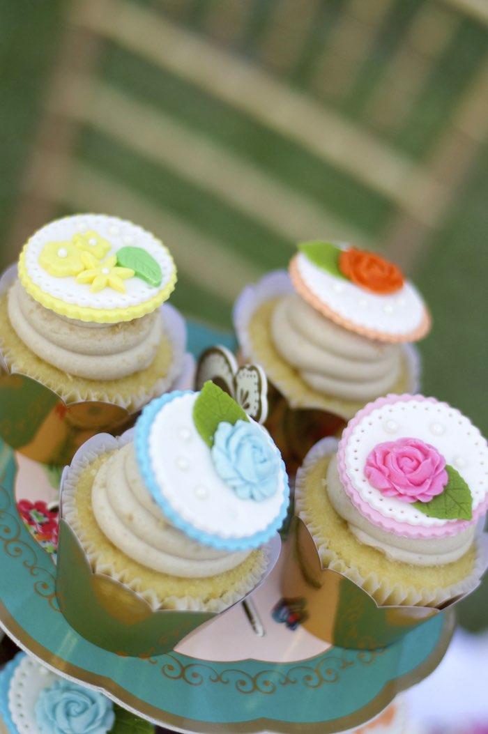 Cupcakes from a Garden Party Baby Shower via Kara's Party Ideas KarasPartyIdeas.com (25)