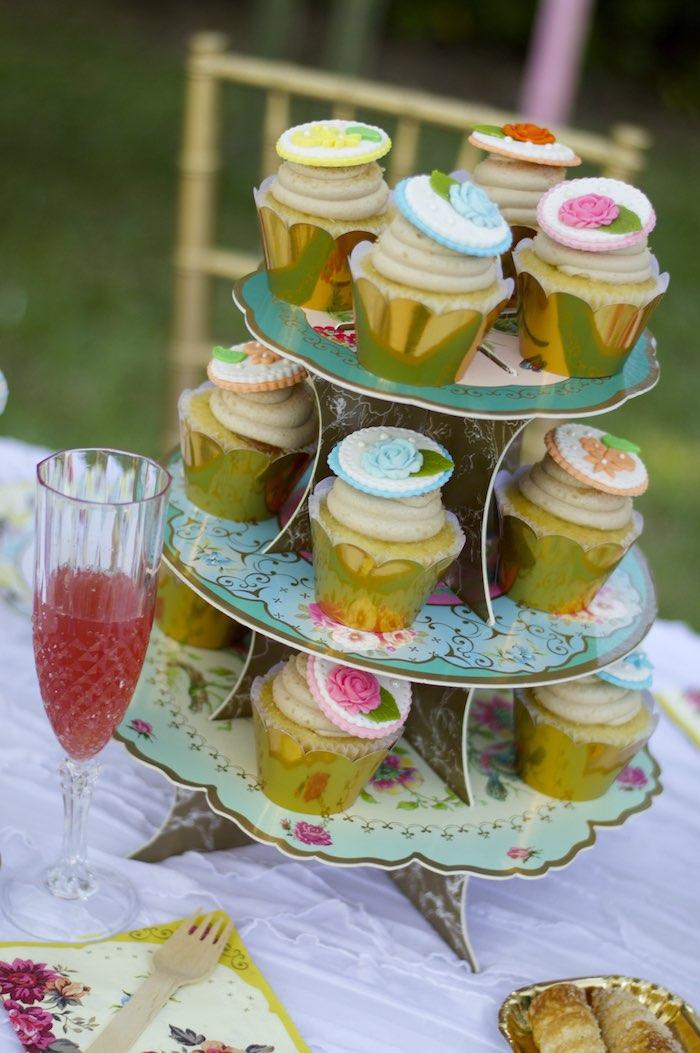 Cupcakes from a Garden Party Baby Shower via Kara's Party Ideas KarasPartyIdeas.com (22)