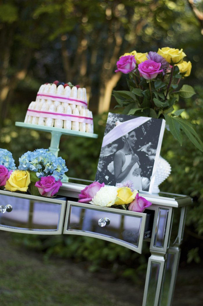 cake table from a garden party baby shower via kara 39 s party ideas