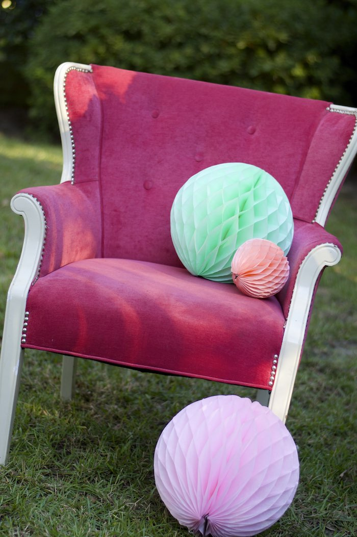 Arm Chair from a Garden Party Baby Shower via Kara's Party Ideas KarasPartyIdeas.com (19)