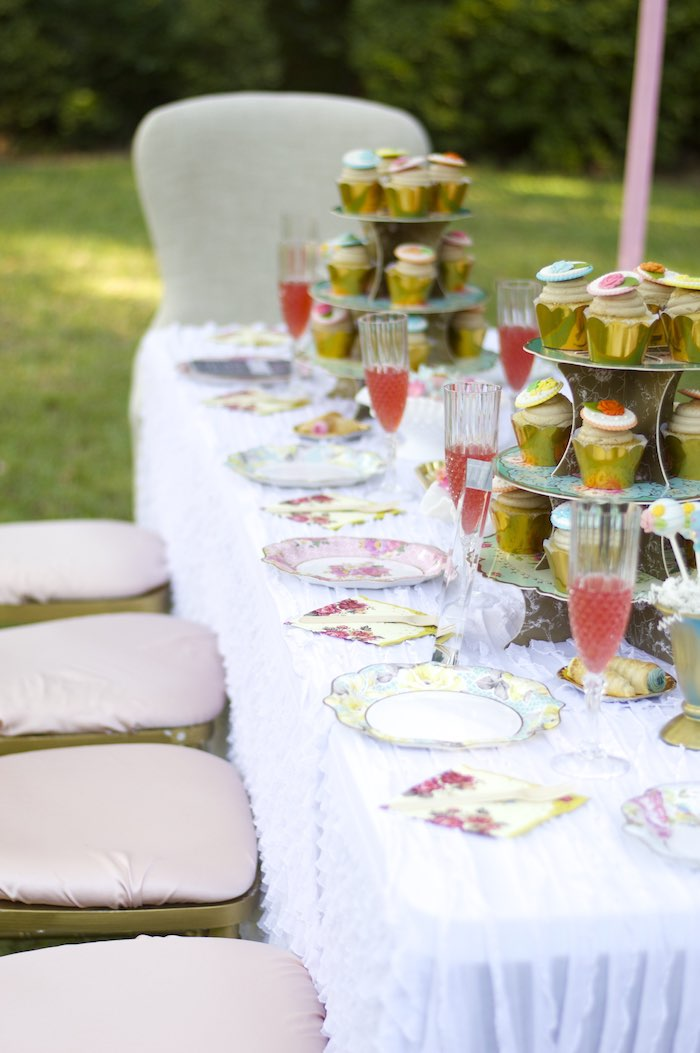 dining tablescape from a garden party baby shower via karau0027s party ideas