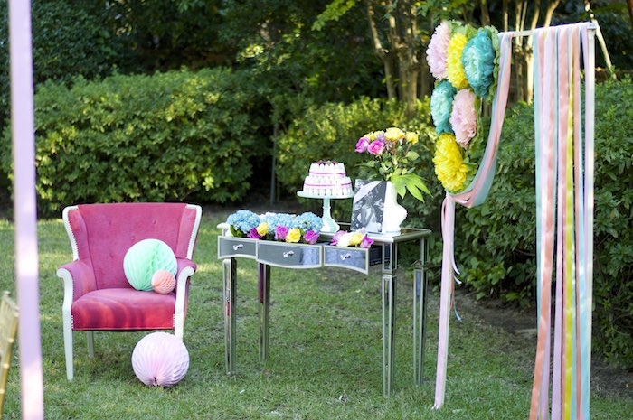 cake table from a garden party baby shower via karas party ideas karaspartyideascom