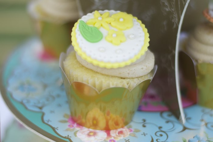 Cupcake from a Garden Party Baby Shower via Kara's Party Ideas KarasPartyIdeas.com (12)