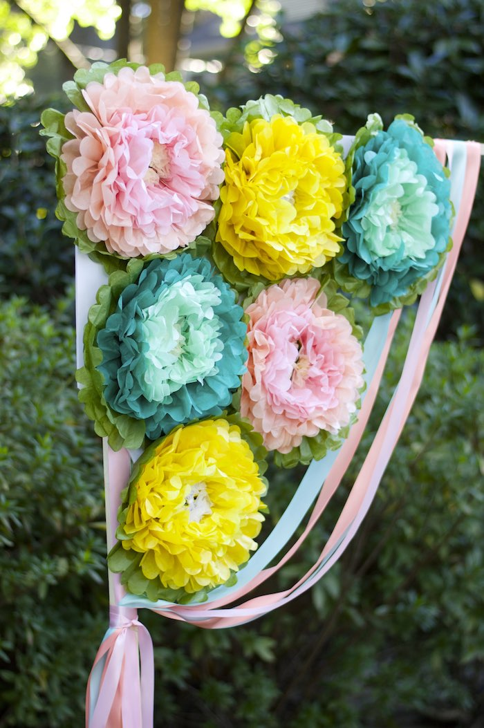 Flower Detail off of a Ribbon Backdrop from a Garden Party Baby Shower via Kara's Party Ideas KarasPartyIdeas.com (11)