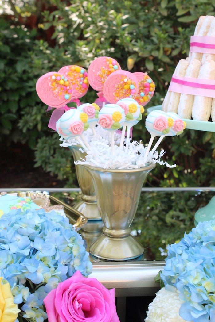 Cake Pops + Candy Kabobs from a Garden Party Baby Shower via Kara's Party Ideas KarasPartyIdeas.com (36)