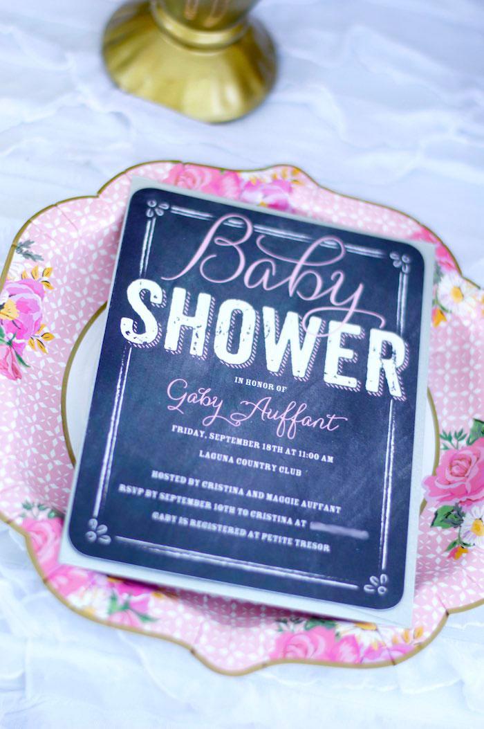Blackboard Invitation from a Garden Party Baby Shower via Kara's Party Ideas KarasPartyIdeas.com (6)