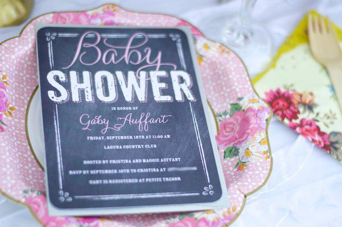 Blackboard Invitation from a Garden Party Baby Shower via Kara's Party Ideas KarasPartyIdeas.com (5)