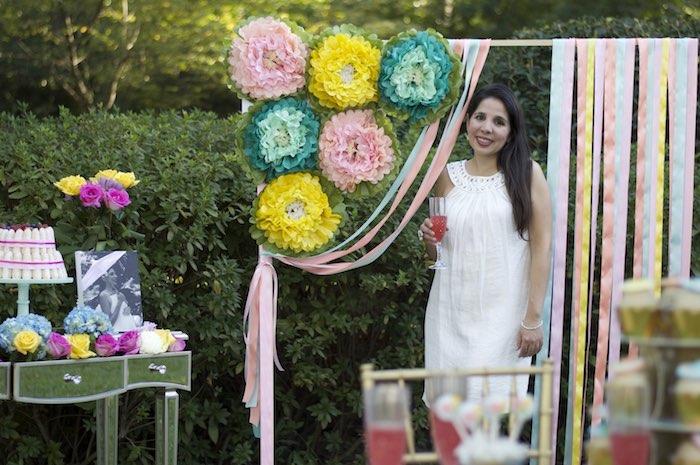 Flower Photo Backdrop from a Garden Party Baby Shower via Kara's Party Ideas KarasPartyIdeas.com (4)