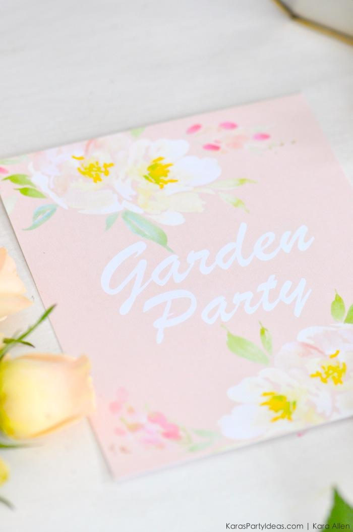 Garden Party via Kara's Party Ideas with FREE Printable! KarasPartyIdeas.com and Canon #CraftyWithCanon