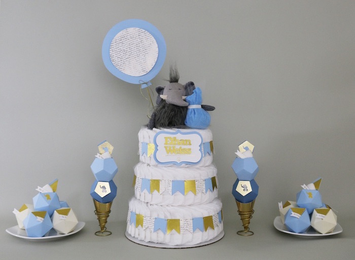 Diaper Cake + Decor from a Geometric Blue & Gold Elephant Baby Shower via Kara's Party Ideas KarasPartyIdeas.com (4)