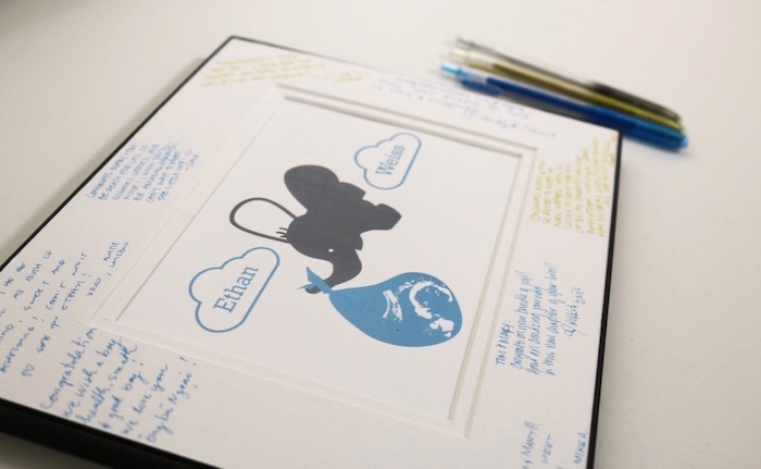 Guest Signature Sign from a Geometric Blue & Gold Elephant Baby Shower via Kara's Party Ideas KarasPartyIdeas.com (3)