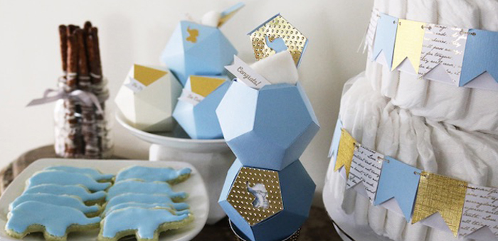 items from a geometric blue u0026 gold elephant baby shower via karau0027s party ideas