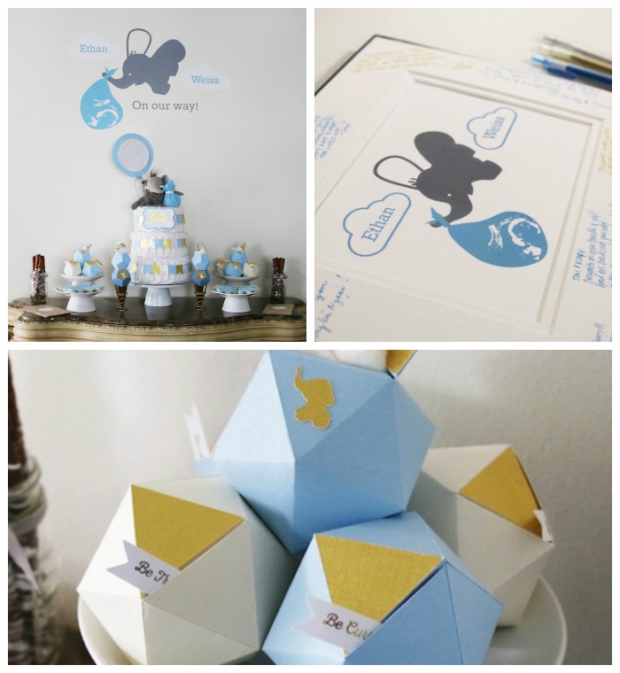 Geometric Blue & Gold Elephant Baby Shower via Kara's Party Ideas KarasPartyIdeas.com (1)