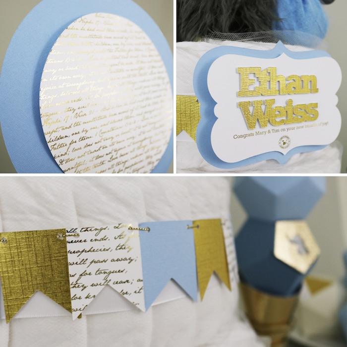 Kara S Party Ideas Geometric Blue Gold Elephant Baby Shower